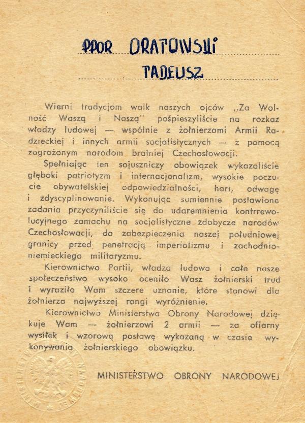 Poděkování polského ministerstva obrany, které v srpnu 1968 vedl Wojciech Jaruzelski, za účast v invazi.