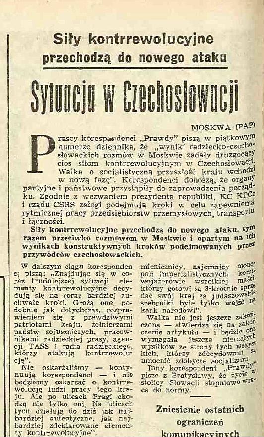 Polské noviny ze srpna 1968 o situaci v ČSSR