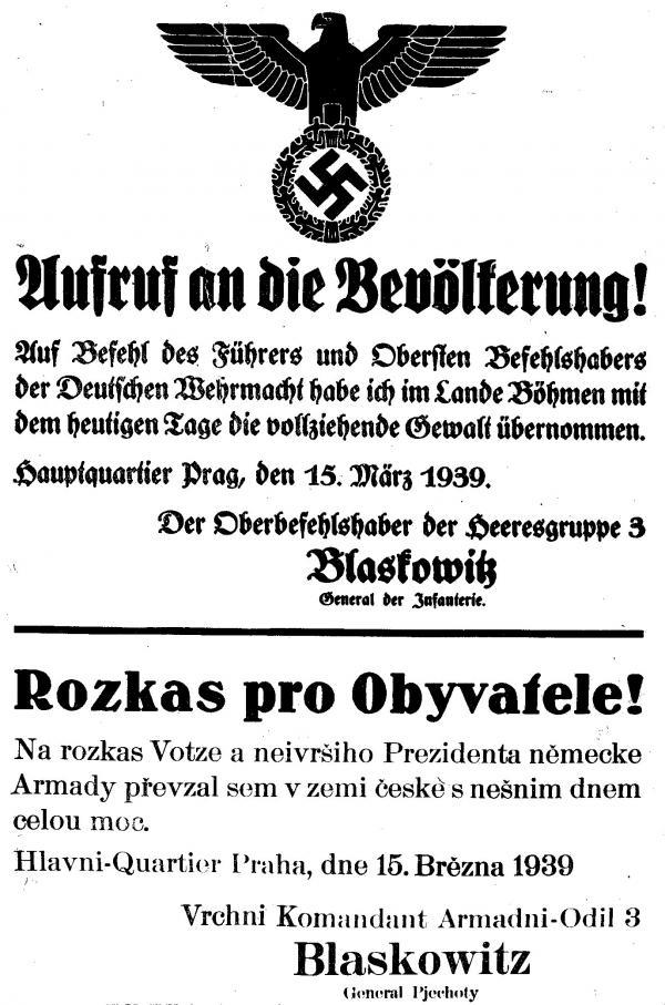 Vyhláška, kterou Němci příšernou češtinou oznamují, že převzali veškerou moc nad územím Čech a Moravy