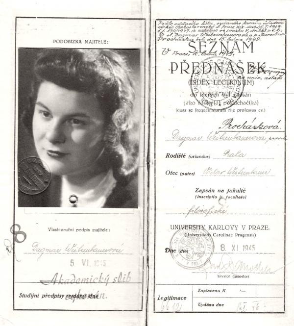 Vysokoškolský index Dagmar Procházkové. Foto: Paměť národa/archív Dagmar Procházkové