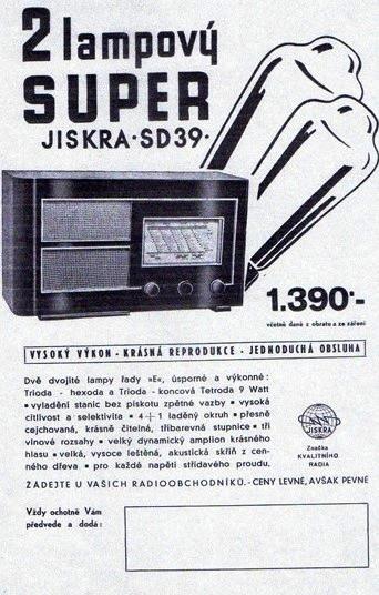 Reklama na radio Jiskra z roku 1939. Zdroj: archív Jiřího Trojana