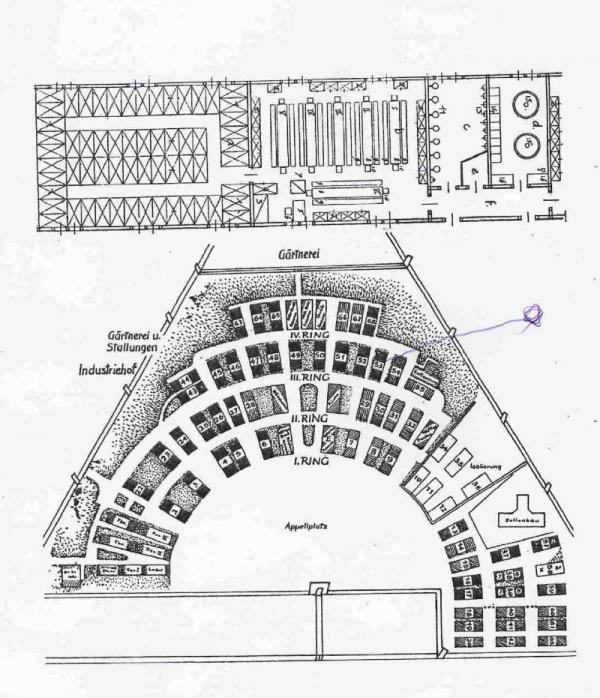 Plán tábora s vyznačením bloku č. 51, kde byl Vojtěch Srdečný vězněn.