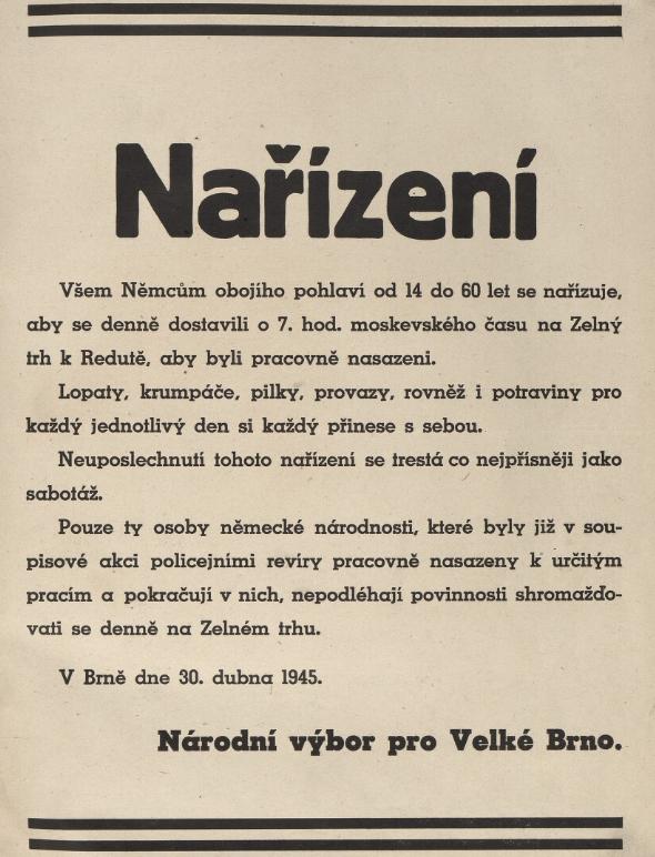 Nařízení o povinném každodenním shromažďování Němců na Zelném trhu z 30. dubna 1945. Zdroj: Moravská zemská knihovna
