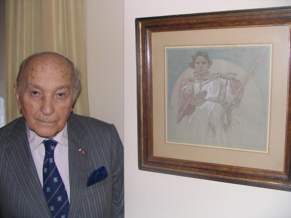 Skica od Alfonse Muchy, kterou dostal jako malé dítě. Se svým otcem navštívili Muchu právě když dokončoval Slovanskou epopej.