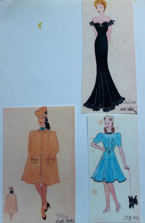 Skicy návrhů oděvů Ruth z roku 1939, které poslala do Anglie.