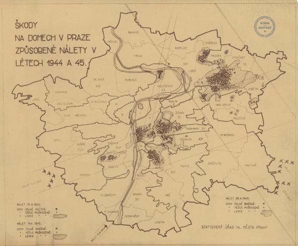 Škody na domech po třech bombardováních Prahy. Zdroj: Institut plánování a rozvoje