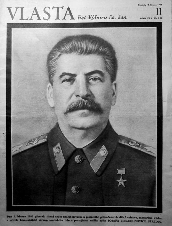 Stalin na obálce mimořádného vydání časopisu pro ženy Vlasta. Zdroj: Moderní dějiny