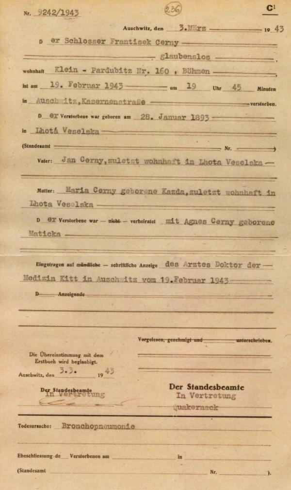 Výpis z osvětimské knihy mrtvých - úmrtní list Františka Černého. Zdroj archív Jiřího Trojana