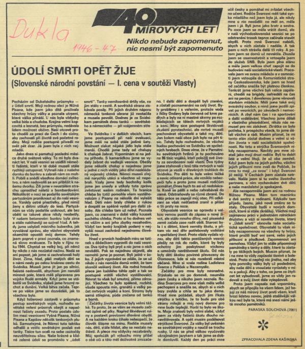 Článek Parasky Souchové v časopise Vlasta z roku 1985. Foto: archív Stanislavy Kubisové
