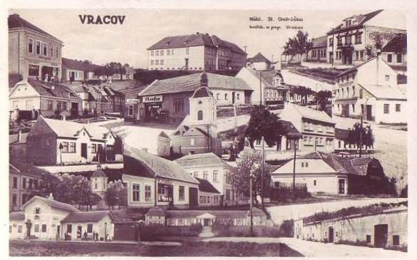 Vracov na historické pohlednici z roce 1936. Zdroj: FotoHistorie.cz