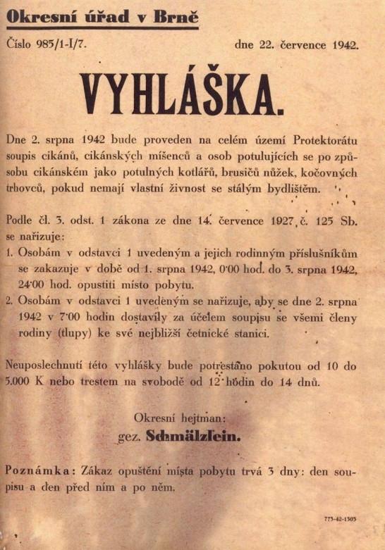 Vyhláška 1942 o soupisu cikánů a cikánských míšenců.