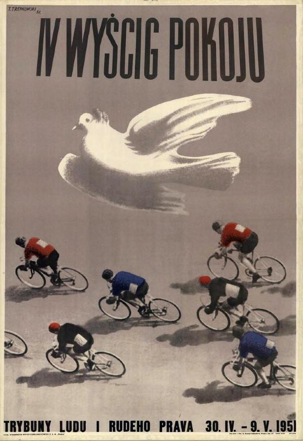 Polský plakát Závodu míru v roce 1951, další rok přibyla NDR a Berlín.