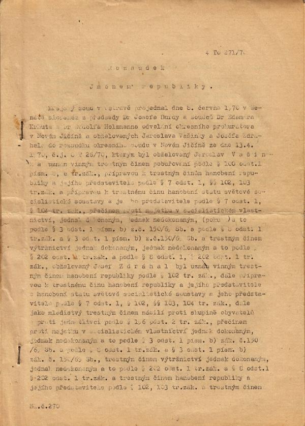 První strana rozsudku. Zdroj: Paměť národa