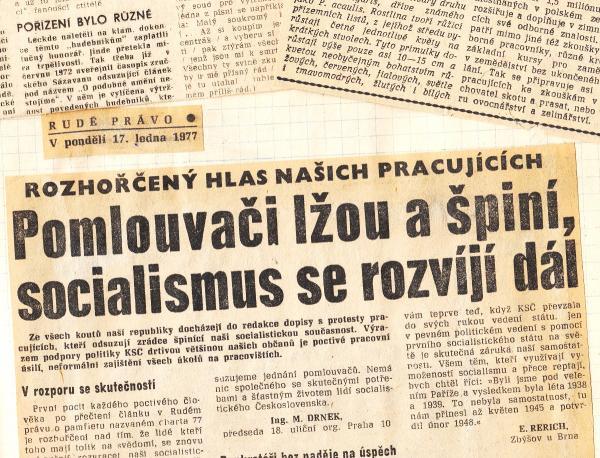 Komunistický režim na Chartu 77 zareagoval okamžitě masivní kampaní
