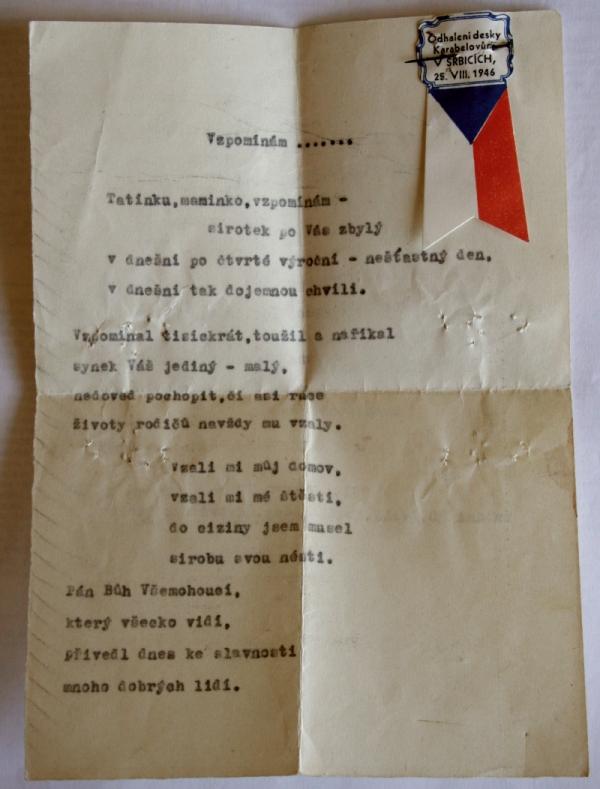 Básnička, kterou četl Jiří Karabel. Foto: Paměť národa