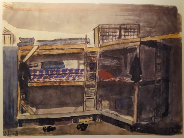 Petr zachytil na akvarelu v roce 1943 chlapeckou ubytovnu v Terezíně. Zdroj: Muzeum Yad Vashem