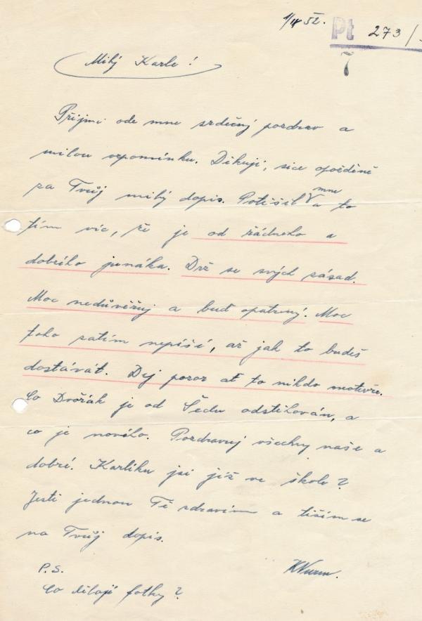 Dopis od vychovatele Wurma. Zdroj: Paměť národa