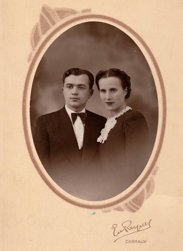 Svatební foto Bohumíra a Lucie z Carmaux z ledna 1940. Zdroj: Marcela Jurasová