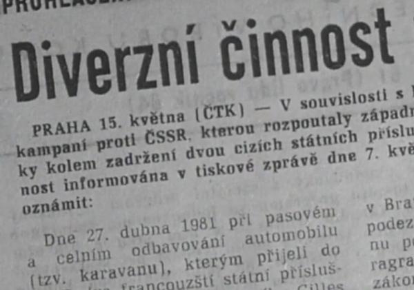 Článek v Rudém právu o zatčení pašeráků samizdatu. Foto: Paměť národa