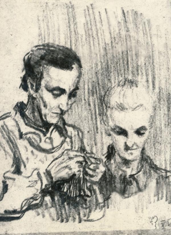 Jarmila Gerlichová se svou sestrou na kresbě spoluvězeňkyně z Ravensbrücku z roku 1942. Zdroj: Vladimír Gerlich