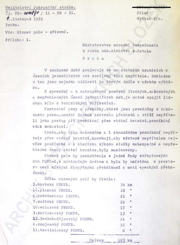 Návrh na zřízení minových polí. Foto: Archív bezpečnostních složek