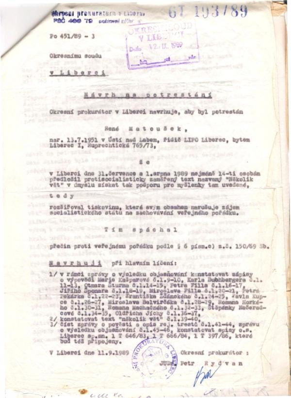 Návrh na potrestání Reného Matouška za sbírání podpisů pod petici.