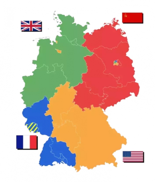 Rozdělení Německa do čtyř okupačních zón bylo dohodnuté v Jaltě v únoru 1945. Nový americký prezident Truman chtěl dělení Německa v Postupimi zabránit.