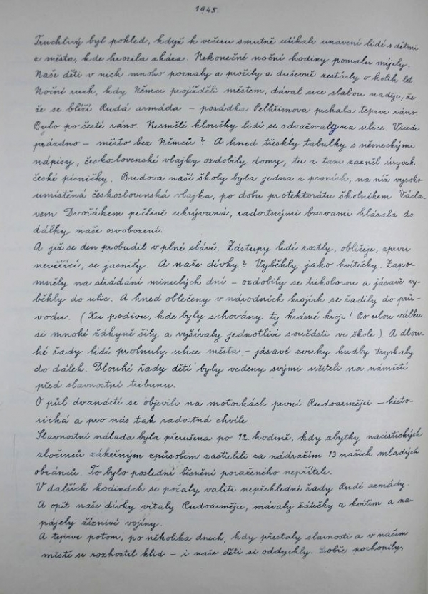 Stránka z pelhřimovské kroniky o událostech 9. května 1945.