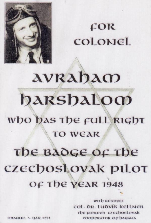 Diplom pilota Avrahama Harshaloma. Foto: Paměť národa