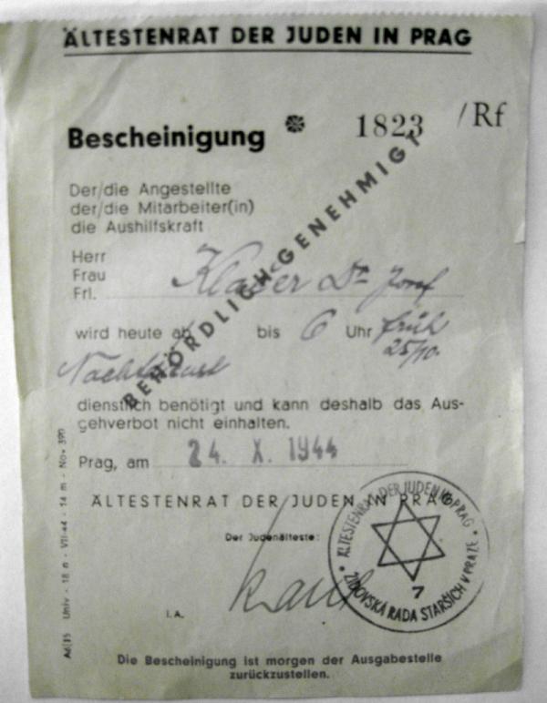 Předvolání do transportu pro Josefa Klačera. Foto: Paměť národa