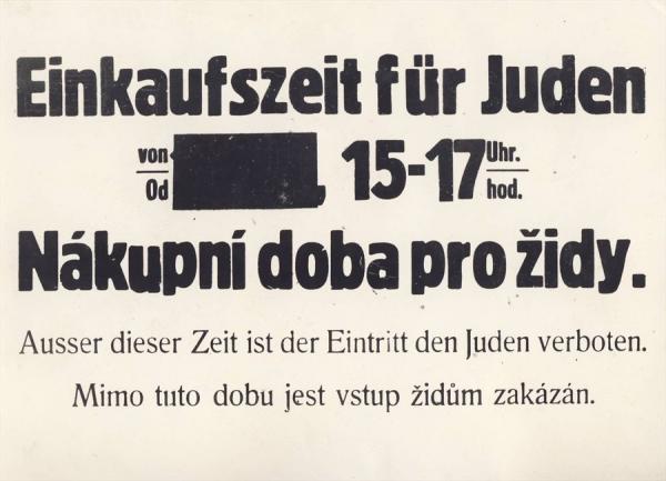 Jedno ze stovek protižidovských opatření přijatých v době protektorátu. Foto: Paměť národa