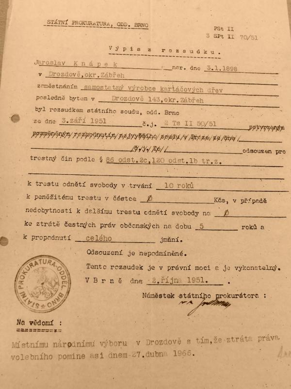 Rozsudek, který poslal Jaroslava Knápka na 10 let do vězení. Zdroj: Paměť národa