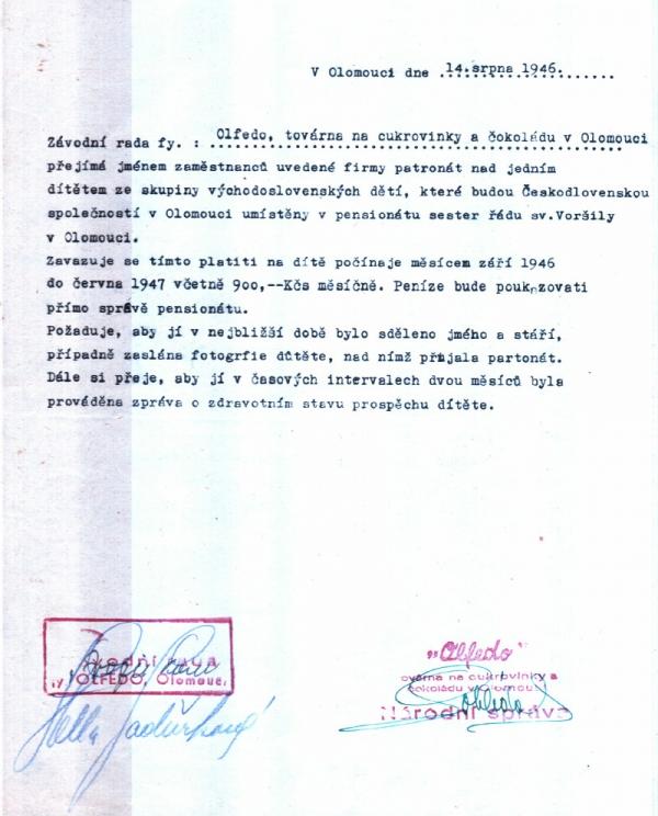 Příslib jednoho z patronů dětí, které byly umístěny v pensionátu Voršilek v Olomouci. Zdroj: Státní okresní archiv Olomouc