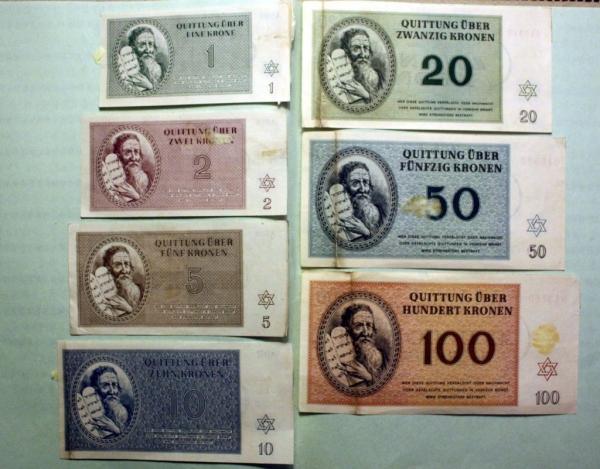 Terezínské bankovky. Foto: Paměť národa