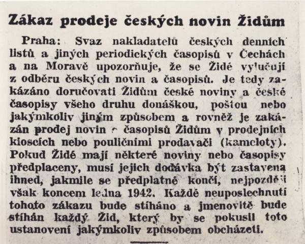 Zákaz prodeje českých novin Židům.