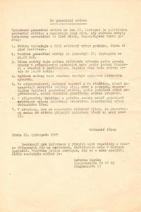 Výzva k připojení ke generální stávce 27. listopadu 1989.