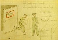 Druhý obrázek s popiskem: Postele jsou ustlány, pacienti jsou umyti a přicházejí Angličané!