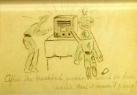 Třetí obrázek s popiskem: Po snídani pacienti chtějí poslouchat rádio. To ale nehraje!