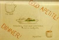 Pátý obrázek s popiskem: Hlavní jídlo dne! Polévka, brambory (které jsou většinou studené), maso a zelenina, puding. Dobrou chuť!