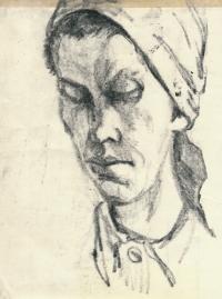 Kresba z Ravensbrücku, neznámá ruská vězeňkyně