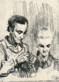 Kresba z Ravensbrücku, maminka a teta Věnceslava, 1942