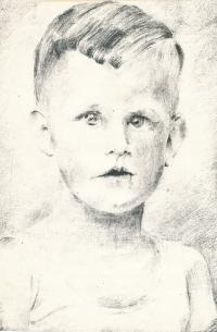 Kresba Vladimíra podle fotografie z Ravensbrücku