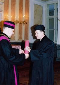 At his doctoral graduation, 17. 12. 1991