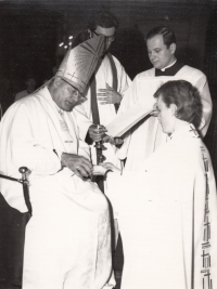 František Kunetka accepts his priestly ordination in the Cathedral of Saint Václav in Olomouc by the hand of Bishop Josef Vrana, 22. 6. 1974