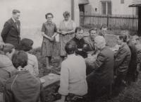 With the choir from Velká Bystřice led by Father Josef Olejníkem in Karlovec, circa 1986