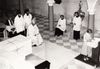 At the blessing of a new altar in Branná, August 1981