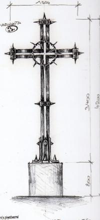Návrh kříže, který vytvořil pro pietní místo na Švédských šancích u Přerova umělecký kovář Jiří Jurda