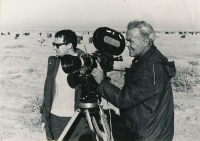 Shooting for the Short Film Prague, the witness on left in the Uzbek desert in 1973