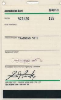 1988 Soul, akreditační karta z LOH v Jižní Koreji