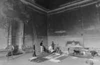 Installation of an exhibition 9&9 in the cloister of Plasy in 1981